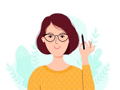 Self-portrait character design designer illustrator women girl illustration avatar flat illustration illustration vector