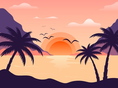 Vector flat landscape beach summer landscape landscape flat illustration illustration vector