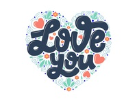 """Lettering """"Love you"""""""