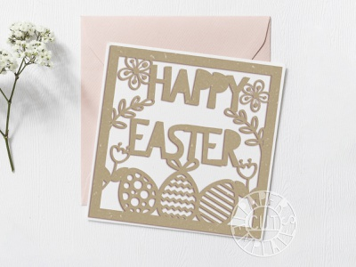 Happy easter card paper art paper style papercut papercutting lettering vector design