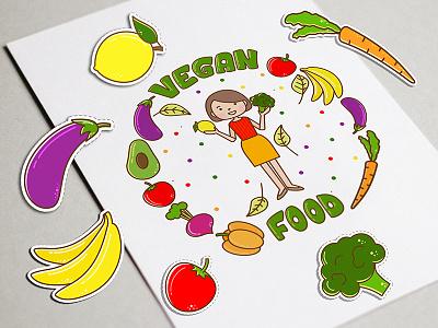 Logo for Vegan Store logo logotype line art doodle illustration vector