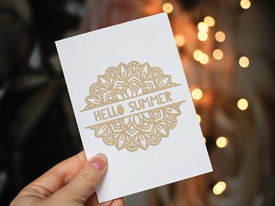 Hello Summer frame mandala ornament papercut paper style papercutting doodle logo lettering illustration vector