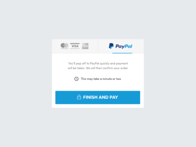 PayPal payment UI card