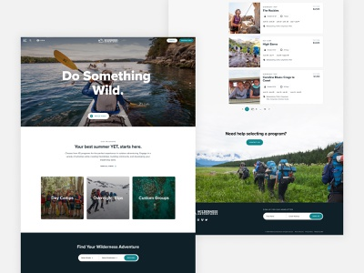 Wilderness Adventures minimal web ux ui