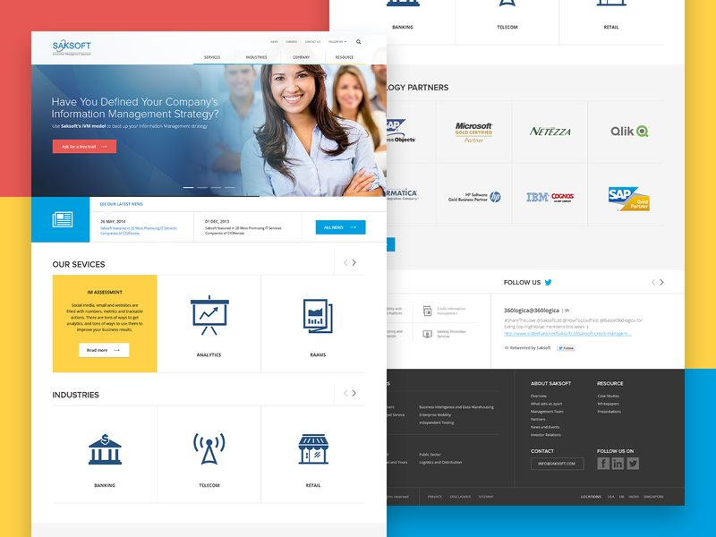 IT Service Management Company blue and yellow design software company webdesign home page ux ui design simple design clean web landing page
