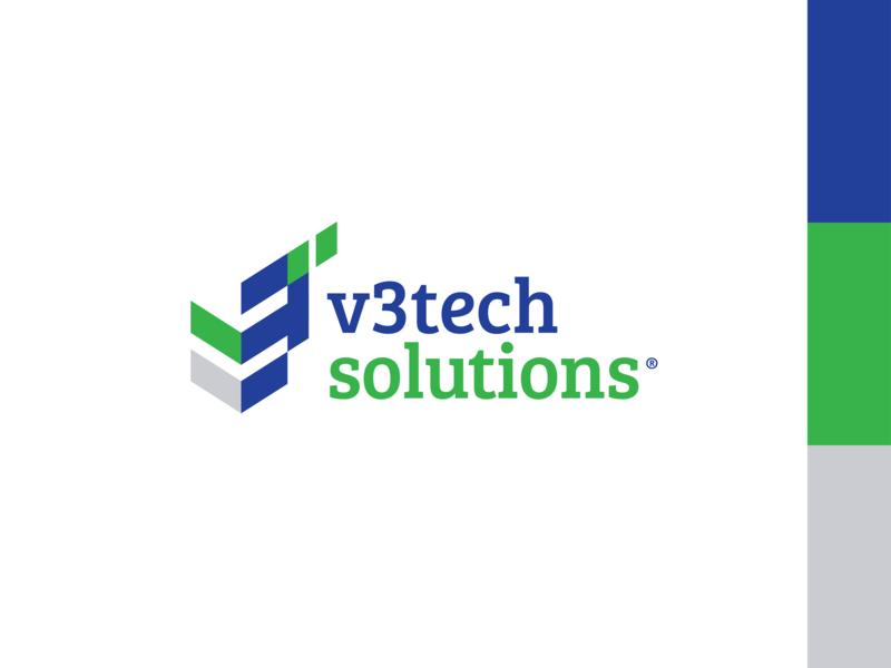 V3TechSolutions Logo organisation staffing developing consulting company identity brandrefresh branding brand design logotype logodeisgn logo