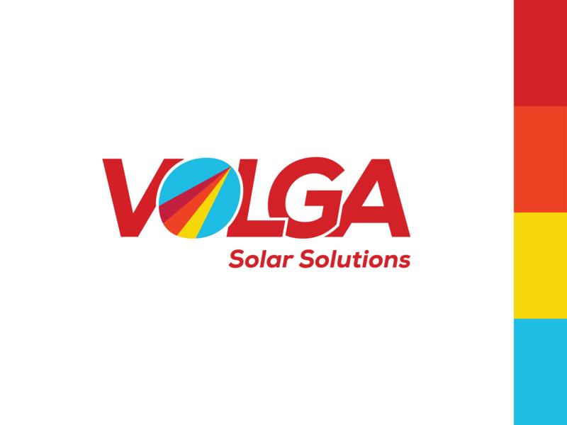 Volga Solar Solutions Logo blue yellow orange red solar energy logotype simple design clean design company brandrefresh brand logo deisgn logo