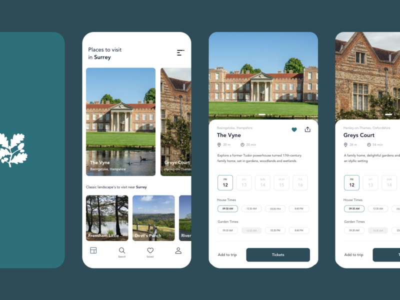 National Trust App Concept concept flat national trust travel booking tickets app designer app design ux ui minimal design app
