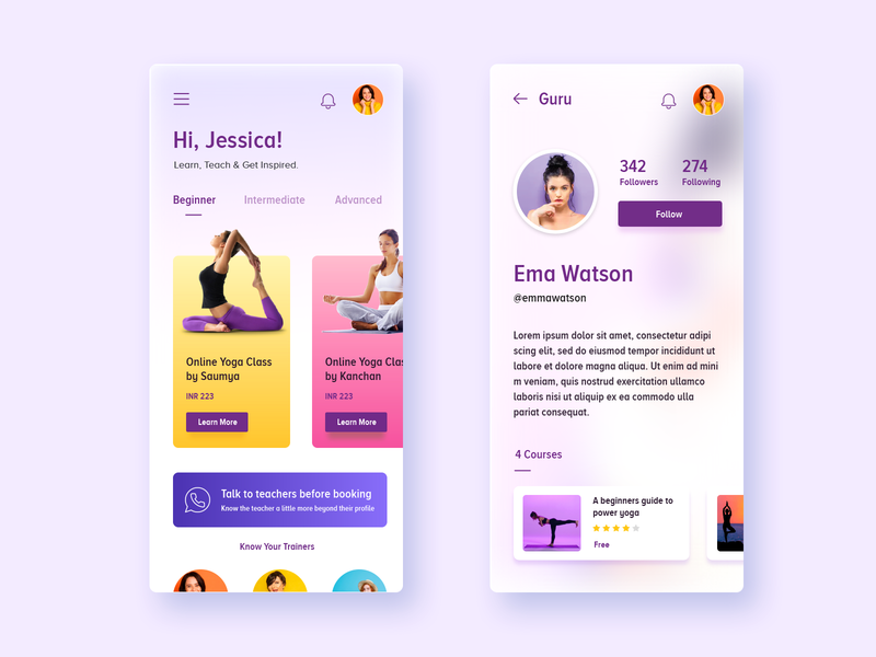 Yoga Training App Concept yoga studio mobile yoga application yoga app app ui minimalism modern exersise lifestyle yoga pose yoga