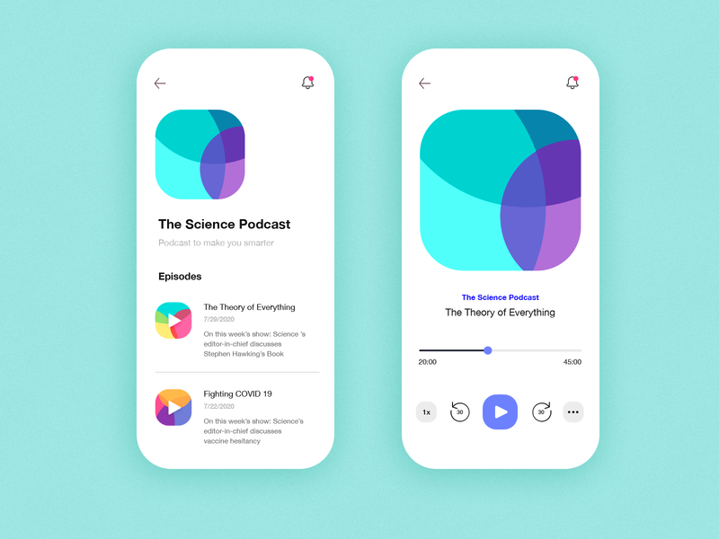 Day 13 of 100 - Podcast App Concept music player app music player podcasting mobile app mobile app design mobile interface appdesign ux minmal design ui podcast app podcast app design app