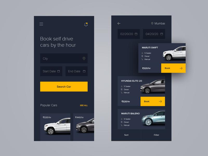 Day 13 of 100 - Car Rental App rent car rent rental car car rental minmal design interface appdesign ux ui car app app car