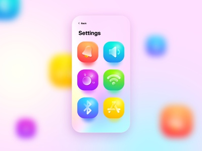 Settings Screen with 3D Icons colors gradients icons settings page settings ui settings 3d icons 3d icon 3d interface illustration minmal design ui app