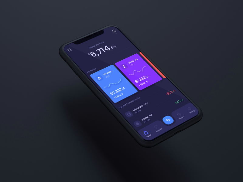 Cryptocurrency App Concept. minmal appdesign interface illustration design app ui crypto exchange crypto wallet cryptocurrency crypto