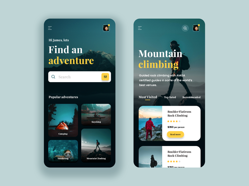 Day 19 of 100 - Adventure Booking App minmal mountain climbing snorkel camping kayaking adventure appdesign interface design app ui