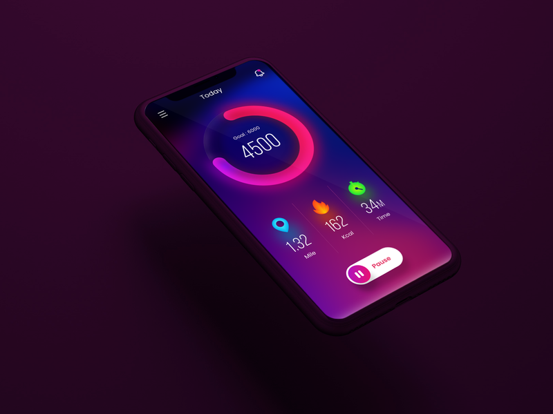Step Counter App Concept progress bar graph illustration minmal appdesign interface design app ui gradient step counter