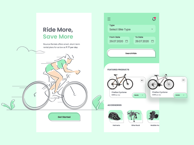 Day 20 of 100 - Bike Renting App Concept illustration appdesign minmal interface store bicycle app ui bikes cycle bike rent a bike bike rental