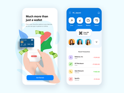 Day 20 of 30 - Mobile Wallet design illustration appdesign interface minmal app wallet app payment wallet ui