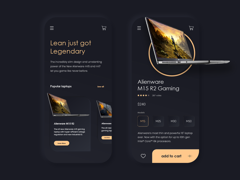 Laptop Store - Dark Mode appdesign interface minmal design laptop store store laptop app ui