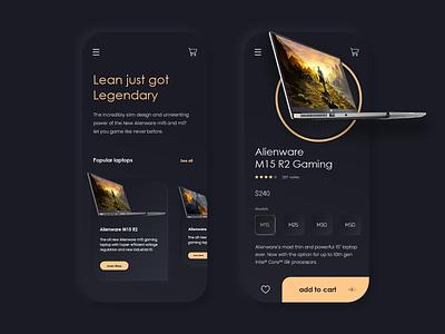 Laptop Store - Dark Mode appdesign interface minmal design laptop store store laptop app ui