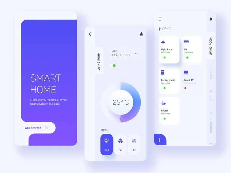 Smart Home App Concept ux appdesign interface minmal design ui app smart home app smart home