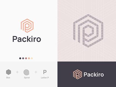Packiro logotype concept #2 letter p spiral box branding geometric design maze logo identity corporate design