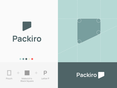 Packiro logotype concept #3 geometric design shape letter p malevich pouch branding logo identity corporate design