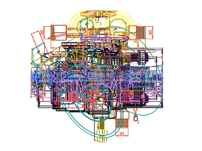 Overlay of technical drawings colors paths illustrator technical drawing art accident
