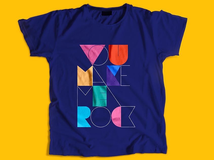 You Make Me Rock illustration custom lettering letter typography t-shirt