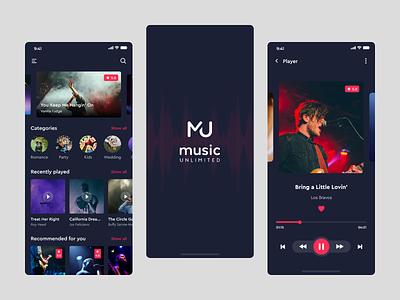 Music Unlimited App mobile app ui design homepage design splash mobile design mobile app design mobile ui music player music app music ios app ios app ui  ux ui typography adobe illustrator design adobe xd adobe