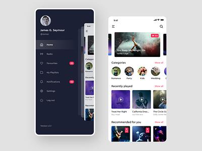 Music App ux design mobile design ui design homepage design side menu music app music ios app design mobile app design ios app ios app typography ui  ux ui adobe xd design adobe