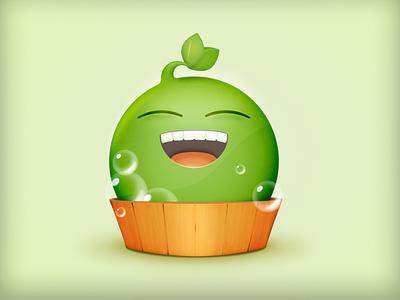 Bathing Pea 豌豆洗白白 wood green smile cute characer wash 洗澡 豌豆 bath pea