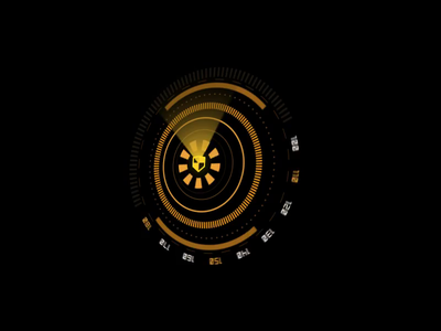 HUD Scanning Animation scan app applicaiton yellow infograhic engine circle shield logo sfx si-fi loading interface security fui hud ui design animation motion