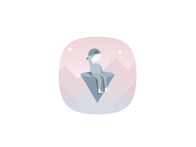 Game Icon game night star sky landscape dream people children kid cute adorable vector logo flat app ui monument valley monument fantasy icon