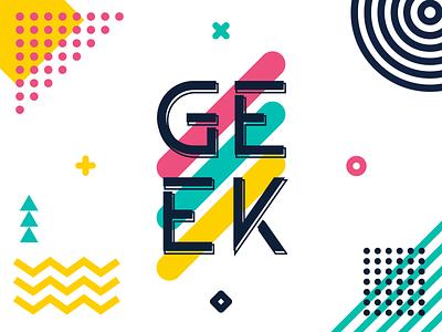 Geek web typography branding vector banner ui design cool line dot geek illustration wallpaper post memphis