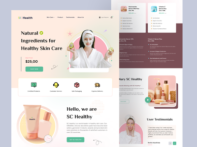 SC Healthy - Landing Page landing page design web landingpage landing landing page design web design beauty product testimony header healthy health skin care