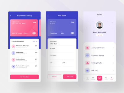 Add Card and Profile design app transaksi transaction payment payment setting setting list icon menu ui design ui add credit credit card visa card profile