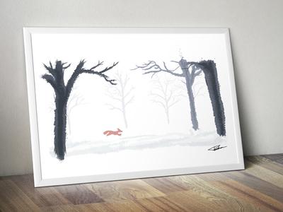 Fox in snowy landscape.
