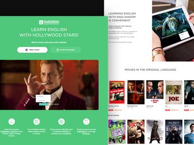 Learning English With Subtitles website ux web ui design
