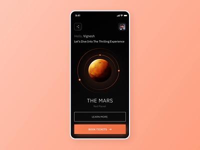 Mars app - Splash screen design animation futuristic delight glow effect splash screen mars