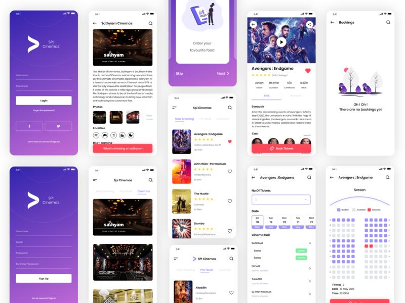 Movie Booking App Concept movie booking colors illustration booking movie poster movie app minimal app design clean app design nice100