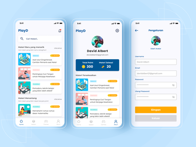 PlayD Education App Concept design app ui simple minimal flat mobile uxui elementary education app education