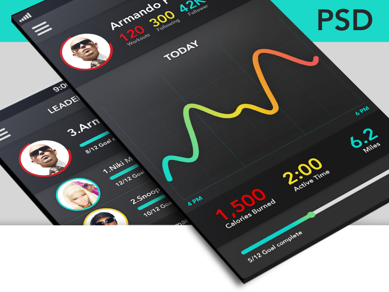 Fitness app+Leader board screen (PSD Freebie) fitness dark ui app psd free freebie source iphone contract gym run leader board point graph colour dimension social profile time detect typography
