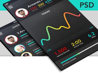 Fitness app+Leader board screen (PSD Freebie)