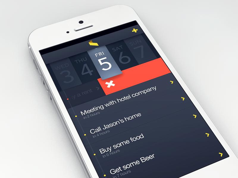 Task Manager App app ui iphone dark reminder task timeline calendar date time slide delete mark list todo clean table