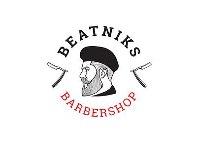 "Logo design for the barbershop ""Beatniks"" barbers barber logo barbershop barber fashion beauty logo"