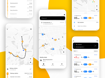 Easyway UI/UX Redesign urban route map interface interaction mobile app mobile transport ux ui design