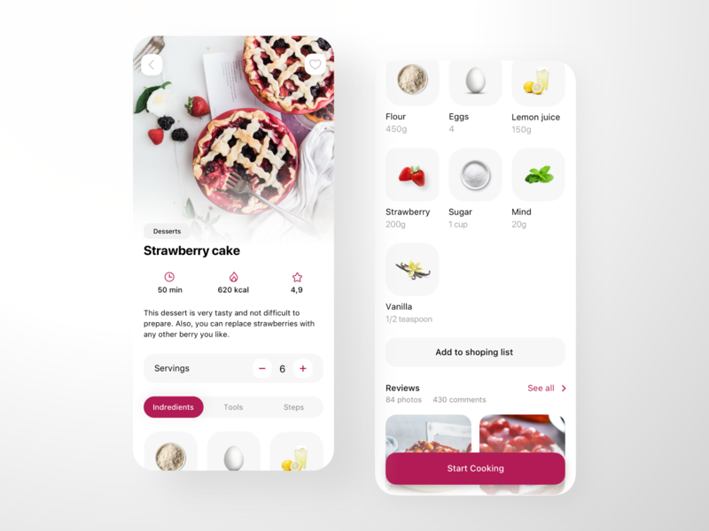 Recipes App Design desserts sweet tasty interface mobile ingredients bake cake receipt recipe cooking cook ux clean ui design