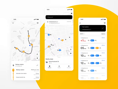 Easyway UI/UX Interaction Design application app mobile app urban route public transport transport ux ui mobile interface dribbble clean design