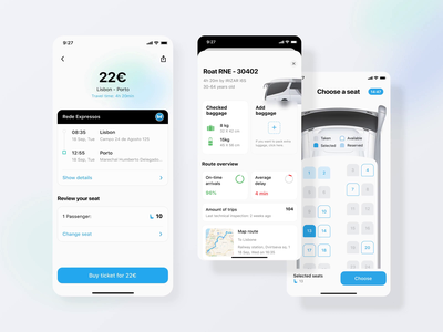 Rede-expressos: Get comfortable in the seat motion redesign app tickets seat bus interaction mobile illustration flat clean ux ui interface dribbble design