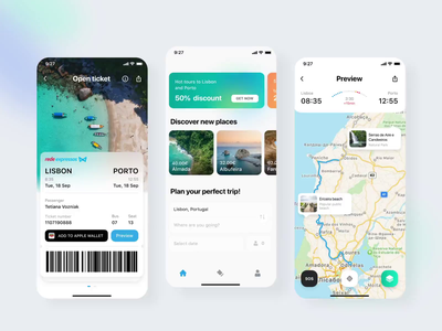 Rede-expressos: Tickets trip travel bus app tickets motion mobile app app interaction flat illustration ux interface ui clean design